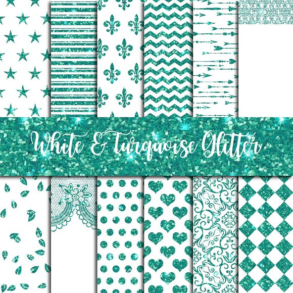 Glitter Turquoise On White Paper