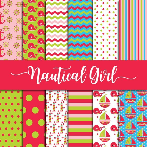 Nautical For Girls Digital Paper