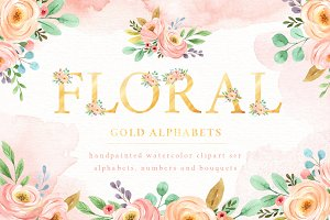 Floral Gold Alphabet Watercolor Set