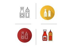 Ketchup and mustard icon