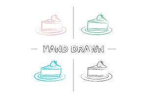 Cheesecake with strawberry hand drawn icons set