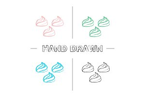 Meringues hand drawn icons set