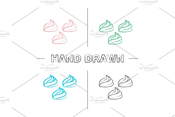 Meringues Hand Drawn Icons Set
