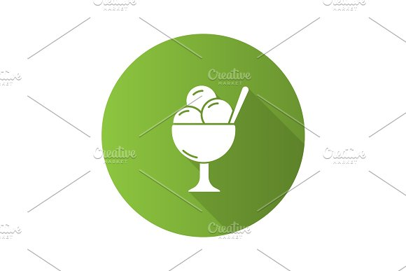 Ice Cream In Bowl Flat Design Long Shadow Glyph Icon