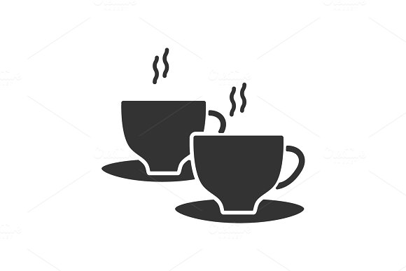 Cups With Hot Drink Glyph Icon