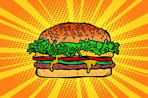 Fast food Burger, hamburger