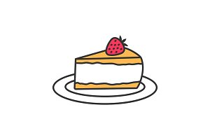 Cheesecake with strawberry color icon