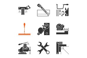 Construction tools glyph icons set