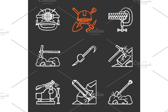 Construction Tools Chalk Icons Set