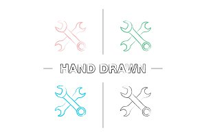 Crossed wrenches hand drawn icons set