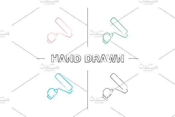 Hand Holding Paint Roller Hand Drawn Icons Set