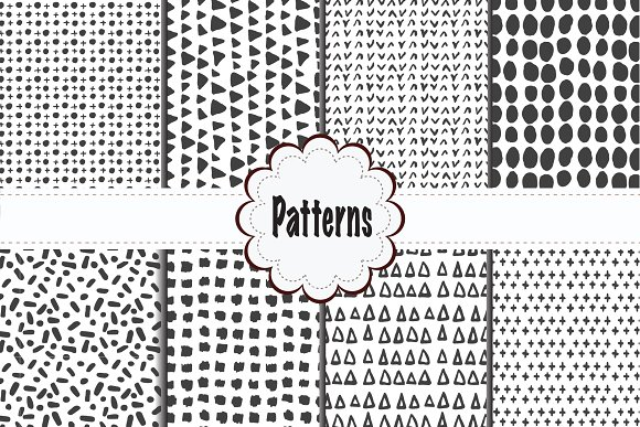 Minimal Black And White Pattern Set