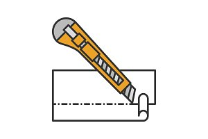 Stationery knife cutting paper color icon