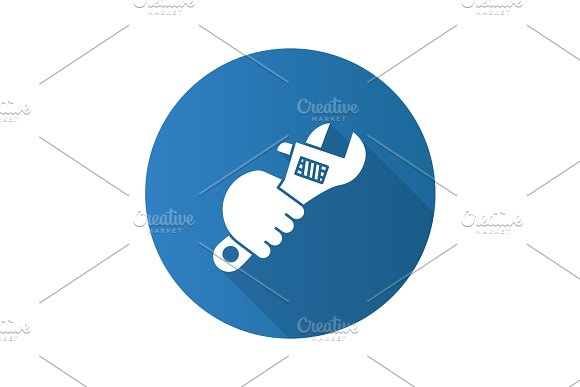 Hand Holding Wrench Flat Linear Long Shadow Icon