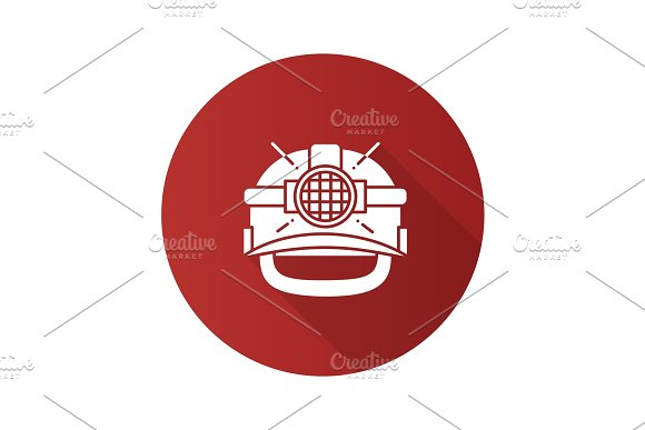 Industrial Safety Helmet Flat Linear Long Shadow Icon