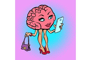 Character brain woman with a smartphone