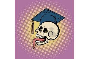 human skull in a graduate hat