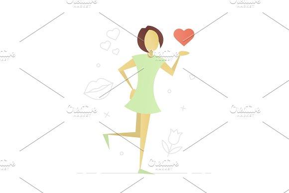 Girl Giving Air Kiss Flat Character Design