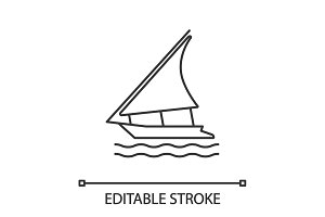 Sailing boat linear icon