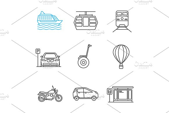 Public Transport Linear Icons Set