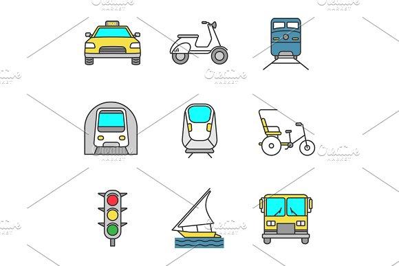 Public Transport Color Icons Set
