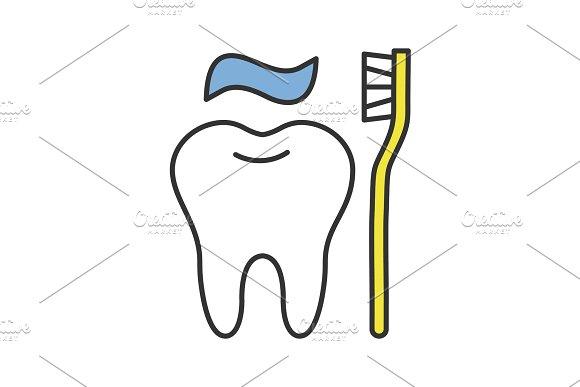 Correct Teeth Brushing Color Icon