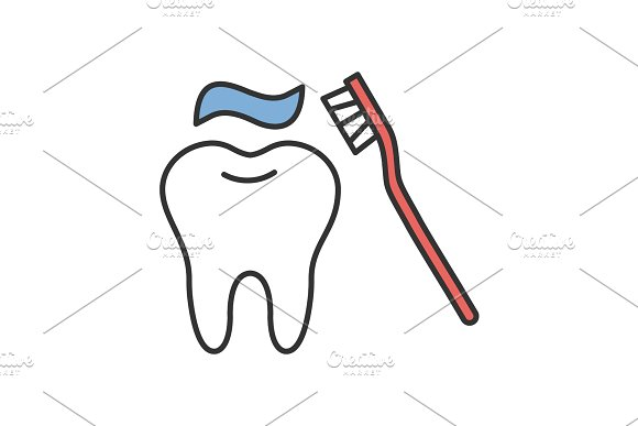 Correct Teeth Brushing Color Icon
