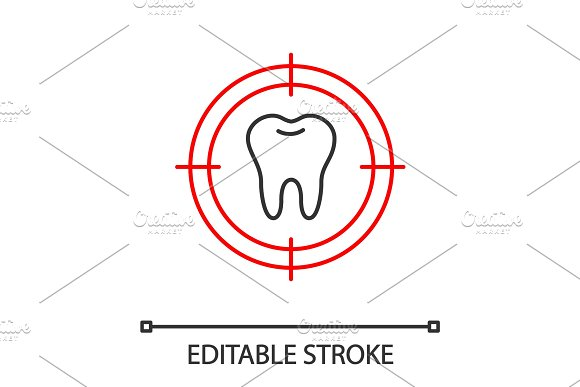 Aim On Tooth Linear Icon