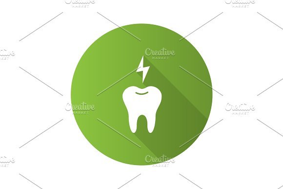 Toothache Flat Design Long Shadow Glyph Icon