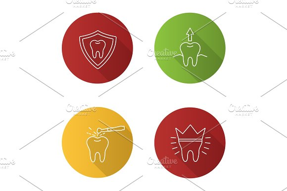 Dentistry Flat Linear Long Shadow Icons Set