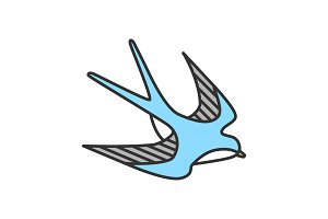 Swallow bird color icon
