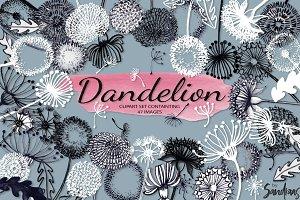 Dandelion handpainted clip art