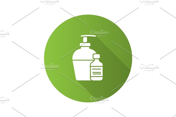 Antibacterial Liquid And Soap Flat Design Long Shadow Glyph Icon