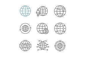 Worldwide linear icons set