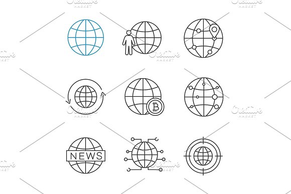 Worldwide Linear Icons Set