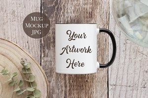 Black handled white mug mockup