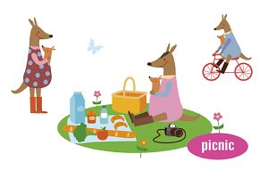Kangaroo family picnic