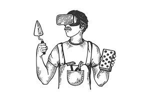 Builder in virtual reality helmet engraving vector
