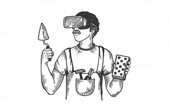 Builder In Virtual Reality Helmet Engraving Vector