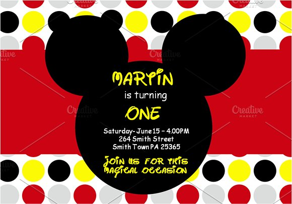 Mickey Mouse Invitations Invitation Templates Creative Market