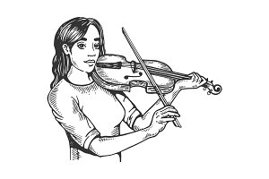 Girl and violin engraving vector illustration