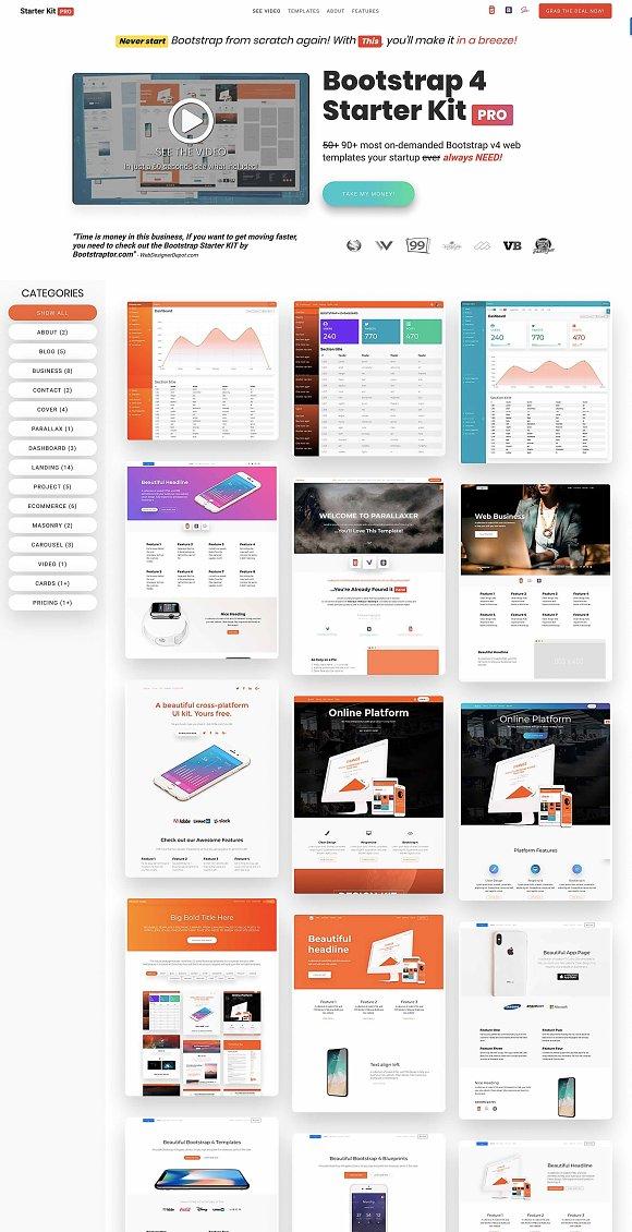 Bootstrap 4 Starter Kit Pro