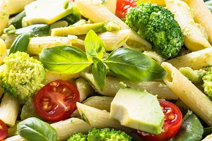 Vegan pasta penne with vegetables.