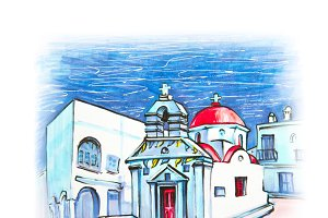 Agia anna Church on island Mykonos, Greece