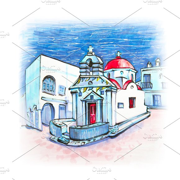 Agia Anna Church On Island Mykonos Greece