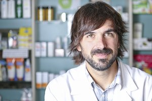 closeup of a male pharmacist
