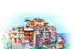 Colorful houses in Corniglia, Ligury, Italy