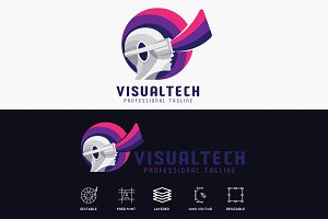 Visual Tech Futuristic Logo
