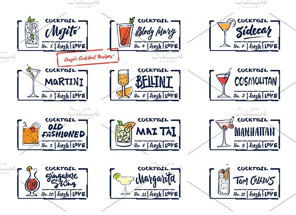 Sketch Alcohol Drinks Labels Set