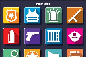 White Police And Justice Icons Set